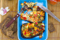 Baked aubergines with vegetables and cheese Royalty Free Stock Photos
