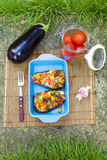 Baked aubergines with vegetables and cheese Royalty Free Stock Photography
