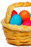 Baked basket with Easter eggs. Baked basket with Easter colored eggs Stock Photo