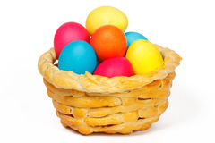Baked basket with Easter eggs. Baked basket with Easter colored eggs Royalty Free Stock Photo