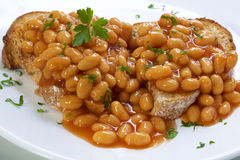 Baked Beans. On sourdough toast, garnished with parsley Royalty Free Stock Photos