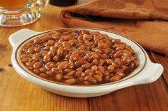 Baked beans and beer Stock Photo