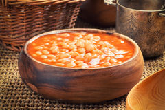 Baked beans in a bowl Royalty Free Stock Photography