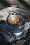 Baked beans on Camping Kitchen Stock Image