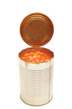 Baked beans in a can. Photograph of a tin can containing backed beans,shot in studio isolated on white, contains clipping path Stock Photos