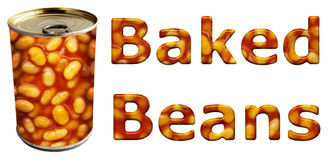 Baked Beans Can and Words. Baked beans can along with textured words on an isolated white background with a clipping path Stock Images