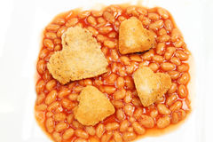 Baked beans and fried bread Royalty Free Stock Image