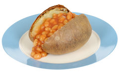 Baked Beans Jacket Potato on a plate Royalty Free Stock Images