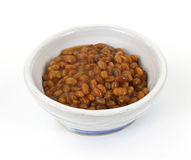 Baked beans in old bowl Royalty Free Stock Images