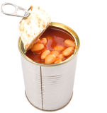 Baked Beans In Open Lid Tin Can IV Royalty Free Stock Photography