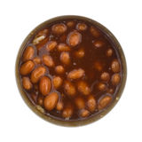 Baked beans opened in tin can. Top view of an opened can of baked beans that has been stirred isolated on a white background Stock Photography