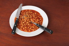 Baked Beans on a Plate Stock Photography