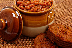Baked Beans In Pot With Brown Bread Stock Image