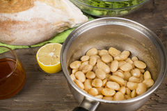 Baked beans in a saucepan Royalty Free Stock Images