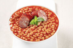 Baked beans and sausage Royalty Free Stock Image