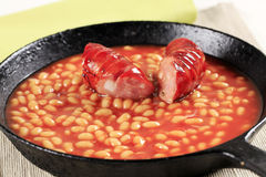 Baked beans and sausage Stock Images