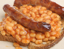 Baked Beans with Sausages Royalty Free Stock Photography