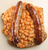 Baked Beans & Sausages on Toast Royalty Free Stock Photos