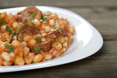Baked beans and sausages Stock Photography