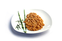 Baked beans served. Image of baked beans served in a white plate Stock Images