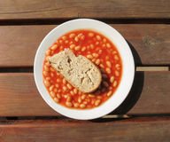Baked beans with stale bread Stock Photos