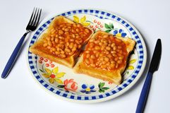 Baked beans on toast. Stock Image