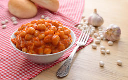Baked beans with tomatoes and garlik Royalty Free Stock Image