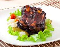 Baked beef ribs in honey soy marinade Stock Image