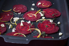 Baked beet slices. royalty free stock images