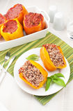 Baked bell pepper stuffed with rice and meat Royalty Free Stock Photo