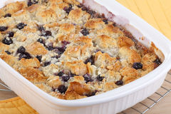 Baked Blueberry Cobbler. In a baking dish royalty free stock photos