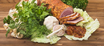Baked boiled pork with greenery Royalty Free Stock Photography