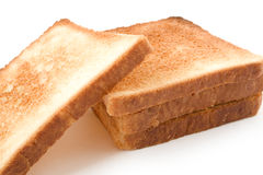 Baked bread. Five slices of the baked bread isolated on a white background Stock Images