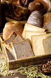 Baked bread. Assortment of baked bread background Stock Photos