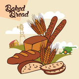 Baked bread advertising illustration. Baked bread from farm to table, advertising illustration with label Stock Photos