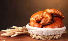 Baked bread in basket Stock Photos