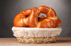 Baked bread in basket Stock Images