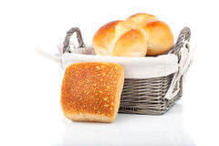 Baked bread bun in basket. Royalty Free Stock Photography