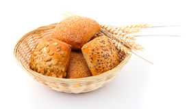 Baked bread bun in basket. Stock Images