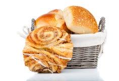 Baked bread bun in basket Royalty Free Stock Photos