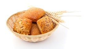 Baked Bread Bun In Basket. Stock Images