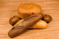 The baked bread and buns Stock Photography