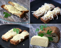 Baked bread with cheese sandwiches Royalty Free Stock Photos