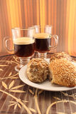 Baked bread and coffee Royalty Free Stock Images