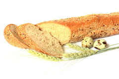 Baked bread isolated on white. Buckground Stock Image