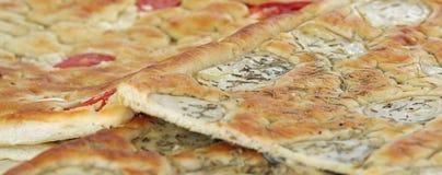 Baked bread  Italian food called Focaccia with rosemary Stock Photos