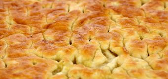 Baked bread  Italian specialty called Focaccia Genovese Stock Images