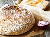 Baked Bread with Onion and Bacon Royalty Free Stock Photo