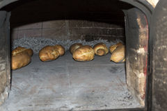 Baked bread in oven Royalty Free Stock Image