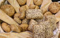 Baked bread pieces made with whole wheat flour and cereals. Bread pieces made with whole wheat flour and seeds and cereals above Stock Photo